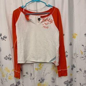 Roxy orange and white crew neck sweatshirt